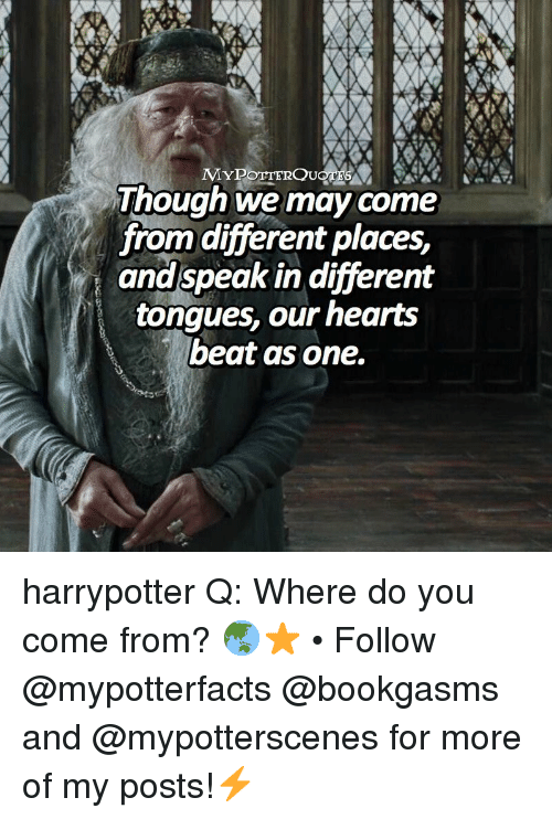 Memes, Hearts, and 🤖: Though we may come  from different places,  and speak in different  tongues, our hearts  beat as one. harrypotter Q: Where do you come from? 🌏⭐️ • Follow @mypotterfacts @bookgasms and @mypotterscenes for more of my posts!⚡️
