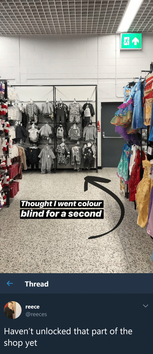 Reece: Thought I went colour  blind for a second   ← Thread  reece  @reeces  Haven't unlocked that part of the  shop yet