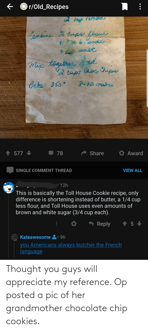 chocolate chip cookies: Thought you guys will appreciate my reference. Op posted a pic of her grandmother chocolate chip cookies.