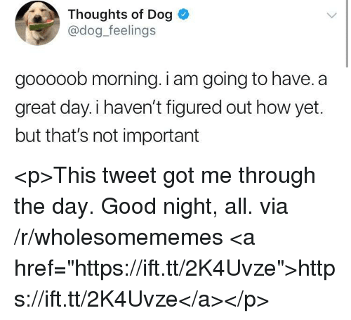 """Good, How, and Got: Thoughts of Dog  @dog feelings  gooooob morning. i am going to have. a  great day.i haven't figured out how yet.  but that's not important <p>This tweet got me through the day. Good night, all. via /r/wholesomememes <a href=""""https://ift.tt/2K4Uvze"""">https://ift.tt/2K4Uvze</a></p>"""