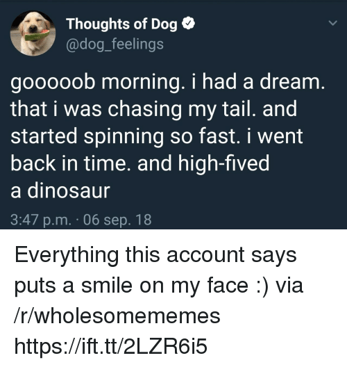 A Dream, Smile, and Time: Thoughts of Dog  @dog_feelings  gooooob morning. i had a dream  that i was chasing my tail. and  started spinning so fast. i went  back in time. and high-fived  a dinosau  3:47 p.m. 06 sep. 18 Everything this account says puts a smile on my face :) via /r/wholesomememes https://ift.tt/2LZR6i5