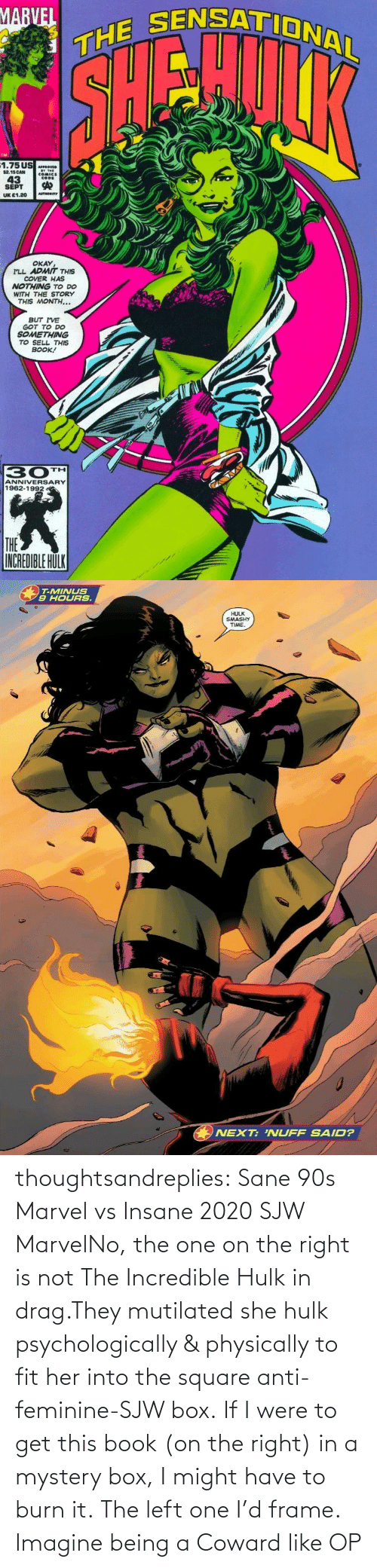 Mystery: thoughtsandreplies:  Sane 90s Marvel vs Insane 2020 SJW MarvelNo, the one on the right is not The Incredible Hulk in drag.They mutilated she hulk psychologically & physically to fit her into the square anti-feminine-SJW box. If I were to get this book (on the right) in a mystery box, I might have to burn it. The left one I'd frame.    Imagine being a Coward like OP