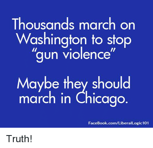"Chicago, Facebook, and Memes: Thousands march on  Washington to stop  ""gun violence  Maybe they should  march in Chicago  FaceBook.com/LiberalLogic101 Truth!"