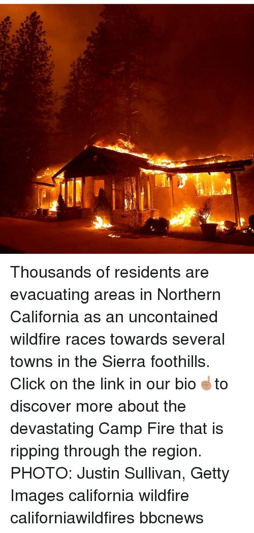 The Region: Thousands of residents are evacuating areas in Northern California as an uncontained wildfire races towards several towns in the Sierra foothills. Click on the link in our bio☝🏽to discover more about the devastating Camp Fire that is ripping through the region. PHOTO: Justin Sullivan, Getty Images california wildfire californiawildfires bbcnews