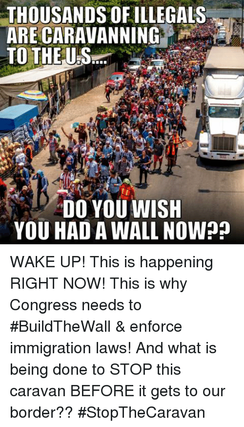 Memes, Immigration, and What Is: THOUSANDS OFILLEGALS  TO THE US  DO YOU WISH  YOU HAD A WALL NOW? WAKE UP! This is happening RIGHT NOW! This is why Congress needs to #BuildTheWall & enforce immigration laws!   And what is being done to STOP this caravan BEFORE it gets to our border?? #StopTheCaravan