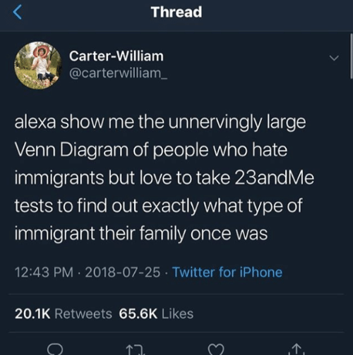 Diagram: Thread  Carter-William  @carterwilliam_  alexa show me the unnervingly large  Venn Diagram of people who hate  immigrants but love to take 23andMe  tests to find out exactly what type of  immigrant their family once was  12:43 PM 2018-07-25 Twitter for iPhone  20.1K Retweets 65.6K Likes  1.