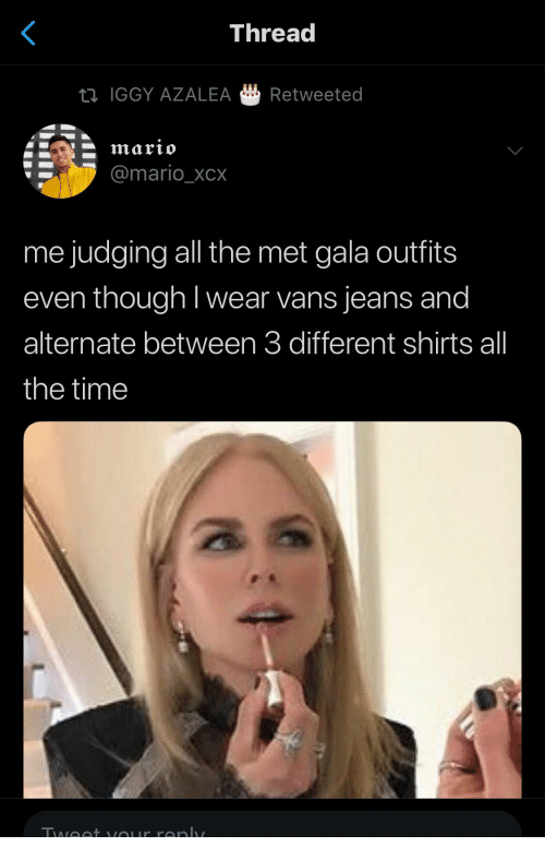 Iggy: Thread  IGGY AZALEA Retweeted  @mario_XCX  me judging all the met gala outfits  even though I wear vans jeans and  alternate between 3 different shirts all  the time  酓