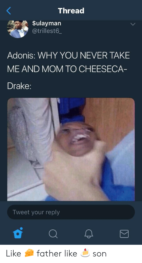 adonis: Thread  Sulayman  @trillest6.  Adonis: WHY YOU NEVER TAKE  ME AND MOM TO CHEESECA  Drake:  Tweet your reply Like 🧀 father like 🍰 son