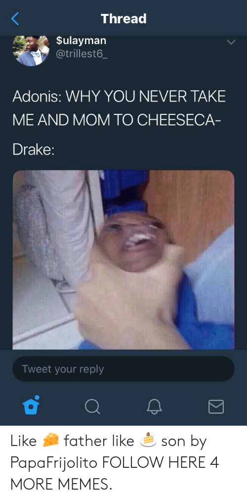 adonis: Thread  Sulayman  @trillest6.  Adonis: WHY YOU NEVER TAKE  ME AND MOM TO CHEESECA  Drake:  Tweet your reply Like 🧀 father like 🍰 son by PapaFrijolito FOLLOW HERE 4 MORE MEMES.