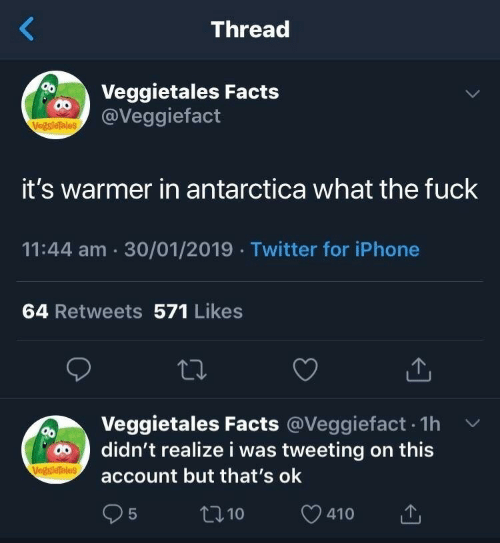 Antarctica: Thread  Veggietales Facts  @Veggiefact  VegsieTales  it's warmer in antarctica what the fuck  11:44 am 30/01/2019 Twitter for iPhone  64 Retweets 571 Likes  Veggietales Facts @Veggiefact. 1h v  account but that's ok  95  didn't realize i was tweeting on this  t10  410