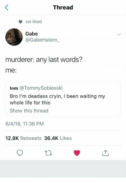 Gabe: Thread  zel liked  Gabe  @GabeHatem_  murderer: any last words?  me:  tom @TommySobiesski  Bro I'm deadass cryin, I been waiting my  whole life for this  Show this thread  6/4/18, 11:36 PM  12.8K Retweets 36.4K Likes