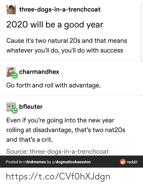 New Year's: three-dogs-in-a-trenchcoat  2020 will be a good year  Cause it's two natural 20s and that means  whatever you'll do, you'll do with success  charmandhex  Go forth and roll with advantage.  bfleuter  Even if you're going into the new year  rolling at disadvantage, that's two nat20s  and that's a crit.  Source: three-dogs-in-a-trenchcoat  Posted in r/dndmemes by u/dogmaticobsession  reddit https://t.co/CVf0hXJdgn