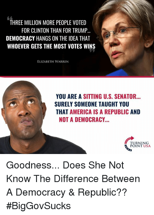 America, Elizabeth Warren, and Memes: THREE MILLION MORE PEOPLE VOTED  FOR CLINTON THAN FOR TRUMP...  DEMOCRACY HANGS ON THE IDEA THAT  WHOEVER GETS THE MOST VOTES WINS  ELIZABETH WARREN  YOU ARE A SITTING U.S. SENATOR...  SURELY SOMEONE TAUGHT YOU  THAT AMERICA IS A REPUBLIC AND  NOT A DEMOCRACY..  TURNING  POINT USA Goodness... Does She Not Know The Difference Between A Democracy & Republic?? #BigGovSucks