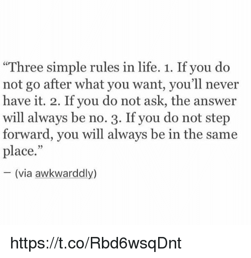"Girl Memes: ""Three simple rules in life. 1. If you do  not go after what you want, you'll never  have it. 2. If you do not ask, the answer  will always be no. 3. If you do not step  forward, you will always be in the same  place.""  (via awkwarddly) https://t.co/Rbd6wsqDnt"