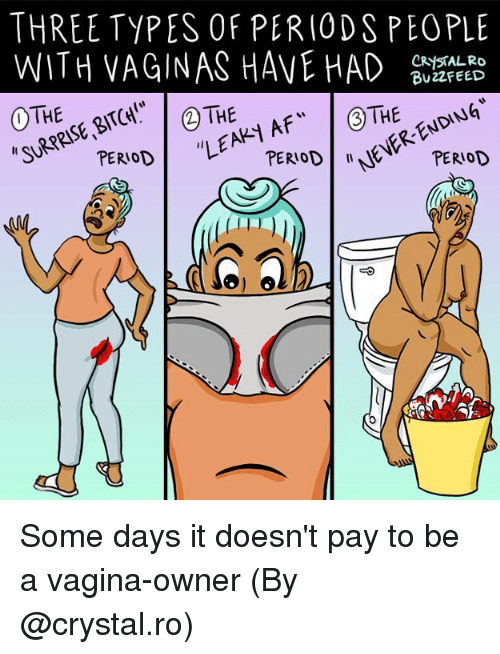 """Memes, Vagina, and 🤖: THREE TYPES OF PERIODS PEOPLE  WITH VAGINAS HAVE D BUTREED  BU22FEED  """"SURPRISE、BITCH!""""  """"LEAK Some days it doesn't pay to be a vagina-owner (By @crystal.ro)"""