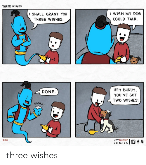 Wishes: THREE WISHES  I WISH MY DOG  I SHALL GRANT YOU  COULD TALK.  THREE WISHES.  HEY BUDDY,  DONE.  YOU'VE GOT  TWO WISHES!  SNAP,  #12  HEY BUDDY  COMICS  Oft three wishes
