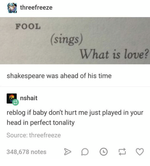 Head, Love, and Shakespeare: threefreeze  FOOL  sings  What is love?  shakespeare was ahead of his time  nshait  reblog if baby don't hurt me just played in your  head in perfect tonality  Source: threefreeze  348,678 notesO  348,678 notes> O