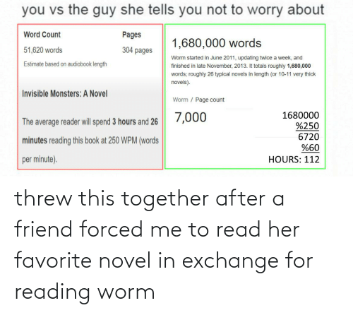 worm: threw this together after a friend forced me to read her favorite novel in exchange for reading worm