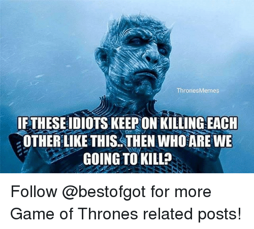 Game of Thrones, Memes, and Game: Thrones Memes  FTHESEIDIOTSKEEP ON KILLING EACH  2OTHER LIKE THIS THENWHO ARE WE  GOING TO KILL? Follow @bestofgot for more Game of Thrones related posts!