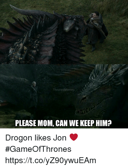 drogon: ThronesMemes  PLEASE MOM, CAN WE KEEP HIM? Drogon likes Jon ❤ #GameOfThrones https://t.co/yZ90ywuEAm