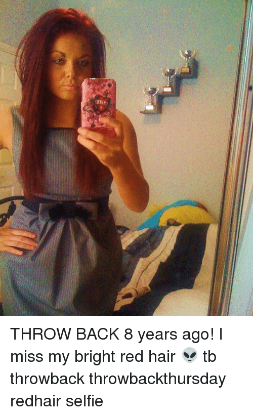 red hair: THROW BACK 8 years ago! I miss my bright red hair 👽 tb throwback throwbackthursday redhair selfie