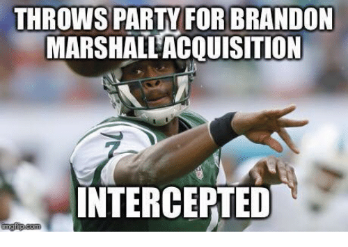 NFL: THROWS PARTY FOR BRANDON  MARSHALL,ACQUISITION  INTERCEPTED