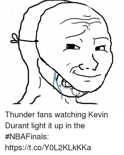 Kevin Durant, Sports, and Light: Thunder fans watching Kevin Durant light it up in the #NBAFinals: https://t.co/Y0L2KLkKKa