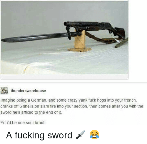 Crazy, Fire, and Military: thunderswarehouse  Imagine being a German, and some crazy yank fuck hops into your trench,  cranks off 6 shells on slam fire into your section, then comes after you with the  sword he's affixed to the end of it.  You'd be one sour kraut A fucking sword 🗡 😂