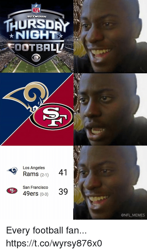 Los Angeles Rams: THURSDAY  NIGH  FOOTBALL  Los Angeles  Rams (2-1)  41  San Francisco39  49ers (0-3)  @NFL MEMES Every football fan... https://t.co/wyrsy876x0