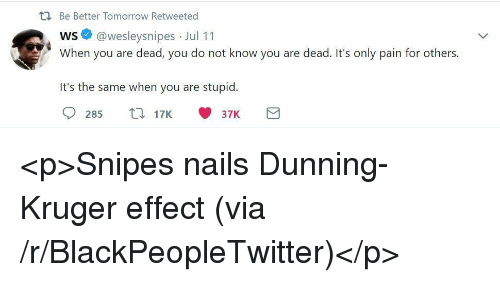 Blackpeopletwitter, Nails, and Tomorrow: ti Be Better Tomorrow Retweeted  ws @wesleysnipes Jul 11  When you are dead, you do not know you are dead. It's only pain for others.  It's the same when you are stupid  285 17K37K <p>Snipes nails Dunning-Kruger effect (via /r/BlackPeopleTwitter)</p>