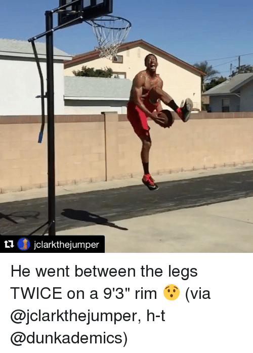"Sports, Between the Legs, and Via: ti  jclarkthejumper He went between the legs TWICE on a 9'3"" rim 😯 (via @jclarkthejumper, h-t @dunkademics)"