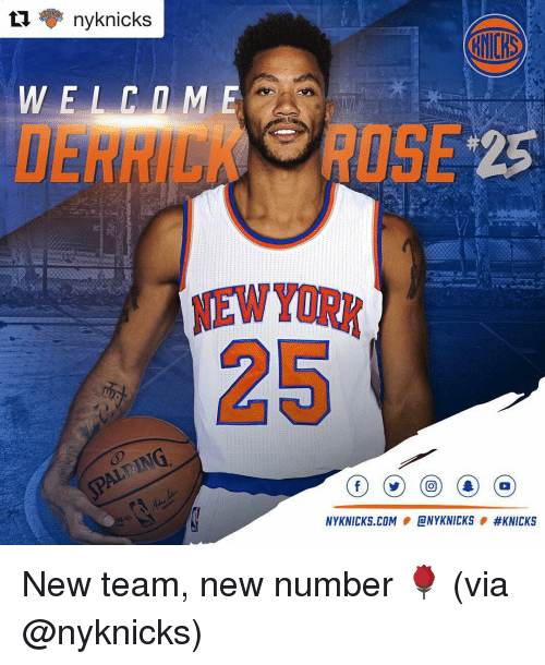 Sports, Com, and Nyknicks: ti ny knicks  NYKNICKS.COM  ONYKNICKS  New team, new number 🌹 (via @nyknicks)