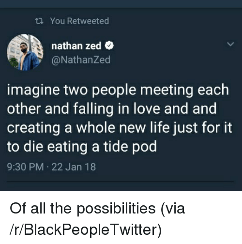 Blackpeopletwitter, Life, and Love: ti You Retweeted  nathan zed  @NathanZed  imagine two people meeting each  other and falling in love and and  creating a whole new life just for it  to die eating a tide pod  9:30 PM 22 Jan 18 <p>Of all the possibilities (via /r/BlackPeopleTwitter)</p>