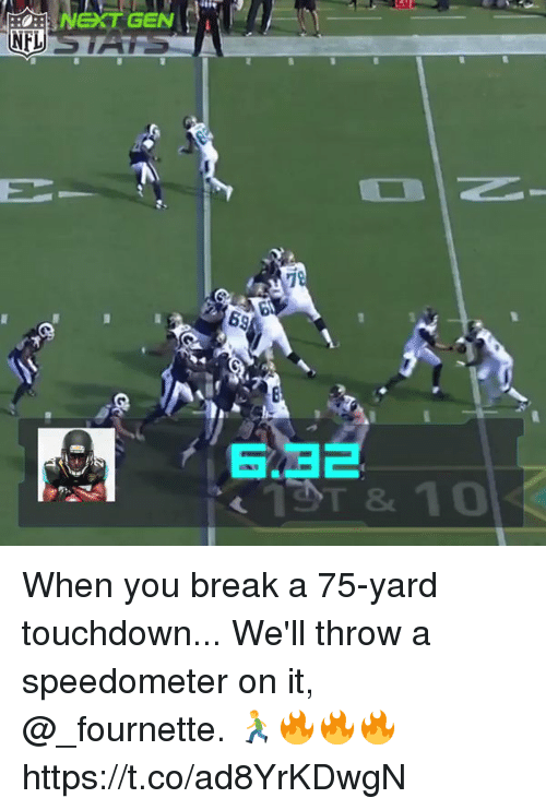 Memes, Nfl, and Break: tie  NEXT  GEN  NFL  T& 10 When you break a 75-yard touchdown...  We'll throw a speedometer on it, @_fournette. 🏃🔥🔥🔥 https://t.co/ad8YrKDwgN