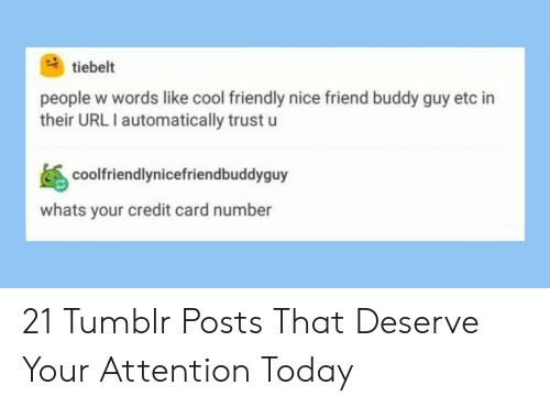 automatically: tiebelt  people w words like cool friendly nice friend buddy guy etc in  their URL I automatically trust u  coolfriendlynicefriendbuddyguy  whats your credit card number 21 Tumblr Posts That Deserve Your Attention Today