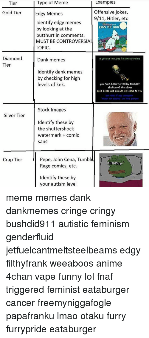 Meme Examples: Tier  Type of Meme  Examples  Offensive jokes,  Gold Tier  Edgy Memes  9/11, Hitler, etc  Identify edgy memes  joINS THE KKK  by looking at the  butthurt in comments.  MUST BE CONTROVERSIAL  TOPIC.  Diamond  Dank memes  if you see this jpeg file while scrolling  Tier  Identify dank memes  by checking for high  levels of kek.  ou have been visited by trumpct  skelton of the abyss  good bones ard calcium will come to you  but only if you  Stock Images  Silver Tier  Identify these by  the shuttershock  watermark comic  sans  Pepe, John Cena, Tumblr,  Crap Tier  Rage comics, etc.  Identify these by  your autism level meme memes dank dankmemes cringe cringy bushdid911 autistic feminism genderfluid jetfuelcantmeltsteelbeams edgy filthyfrank weeaboos anime 4chan vape funny lol fnaf triggered feminist eataburger cancer freemyniggafogle papafranku lmao otaku furry furrypride eataburger