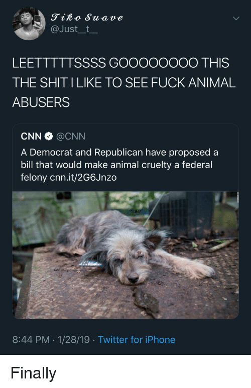 democrat: Tiko Suave  @Just__t  LEETTTTTSSSS GOOooOOOO THIS  THE SHIT ILIKE TO SEE FUCK ANIMAL  ABUSERS  CNN·@CNN  A Democrat and Republican have proposed a  bill that would make animal cruelty a federal  felony cnn.it/2G6Jnzo  8:44 PM-1/28/19 Twitter for iPhone Finally