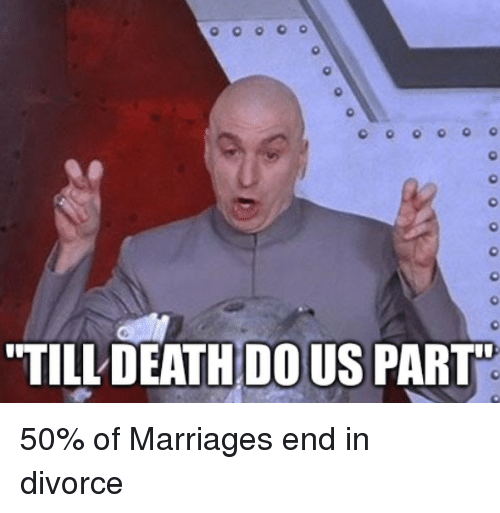 """Marriage, Death, and Divorce: TILL DEATH DOUS PART"""" 50% of Marriages end in divorce"""