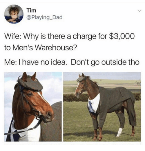 mens warehouse: Tim  @Playing Dad  Wife: Why is there a charge for $3,000  to Men's Warehouse?  Me: I have no idea. Don't go outside tho