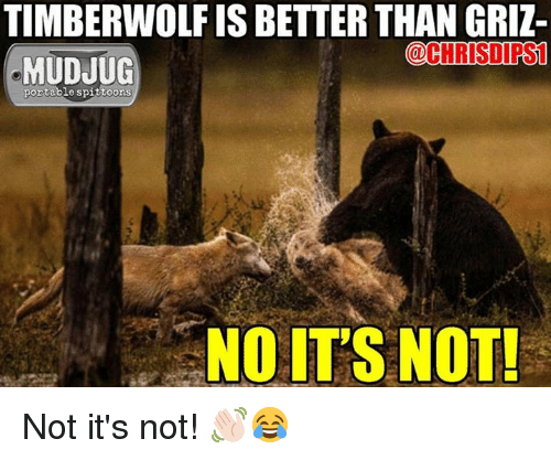 Memes, 🤖, and Mudjug: TIMBERWOLF IS BETTER THAN GRI  COCHRISDIRS1  MUDJUG  portable spittoons  NO ITS NOT! Not it's not! 👋🏻😂