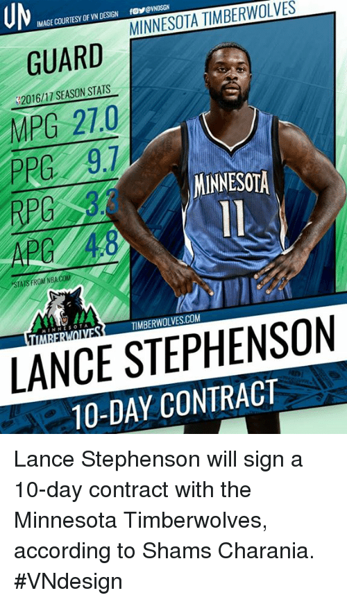 Lance Stephenson, Memes, and Minnesota Timberwolves: TIMBERWOLVES  MINNESOTA INAGE COURTESY OF VN DESIGN GUARD  2016/17 SEASON STATS  MPG 27.0  PRG 9.7  MINNESOTA  TATSTROM M  LANCE STEPHENSON  10-DAY Lance Stephenson will sign a 10-day contract with the Minnesota Timberwolves, according to Shams Charania.  #VNdesign