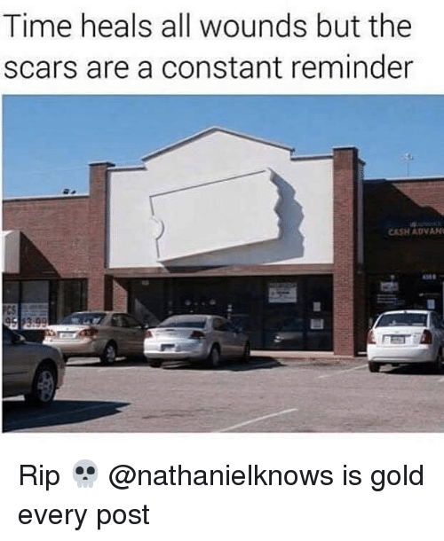 Time, Dank Memes, and Gold: Time heals all wounds but the  scars are a constant reminder  CASH ADVA Rip 💀 @nathanielknows is gold every post