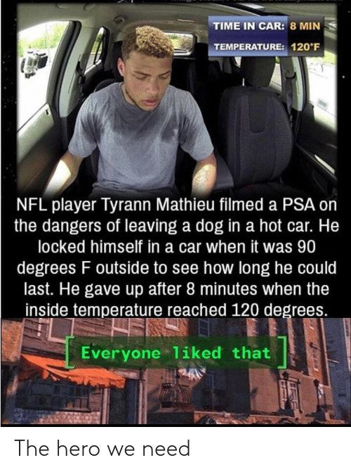 The Hero We Need: TIME IN CAR: 8 MIN  TEMPERATURE: 120 F  NFL player Tyrann Mathieu filmed a PSA on  the dangers of leaving a dog in a hot car. He  locked himself in a car when it was 90  degrees F outside to see how long he could  last. He gave up after 8 minutes when the  inside temperature reached 120 degrees.  Everyone 1iked that The hero we need