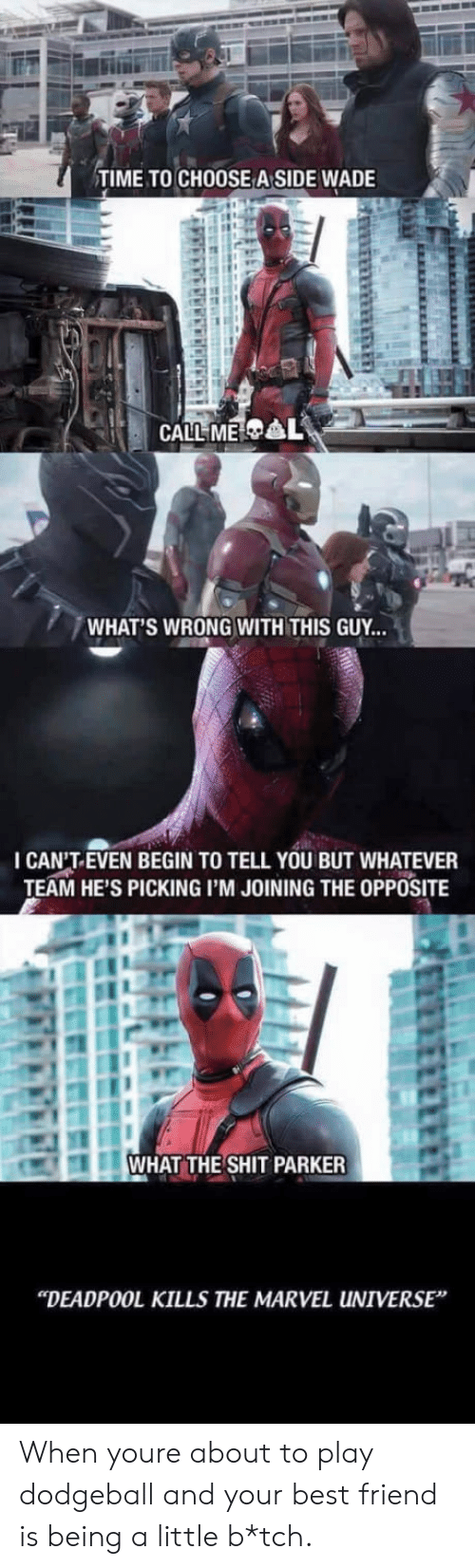 "Whats Wrong: TIME TO CHOOSE A SIDE WADE  WHAT'S WRONG WITH THIS GUY...  I CAN'T.EVEN BEGIN TO TELL YOU BUT WHATEVER  TEAM HE'S PICKING I'M JOINING THE OPPOSITE  WHAT THE SHIT PARKER  ""DEADPOOL KILLS THE MARVEL UNIVERSE When youre about to play dodgeball and your best friend is being a little b*tch."