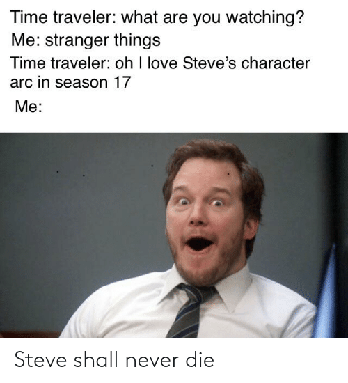season 17: Time traveler: what are you watching?  Me: stranger things  Time traveler: oh I love Steve's character  arc in season 17  Me: Steve shall never die