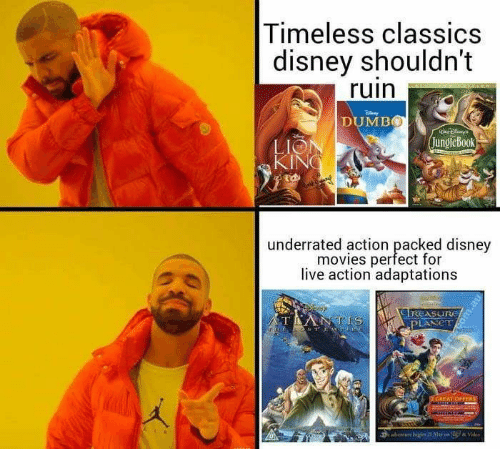 Disney Movies: Timeless classics  disney shouldn't  ruin  DUMB  JungleBook  LIO  underrated action packed disney  movies perfect for  live action adaptations  ( I REASuru