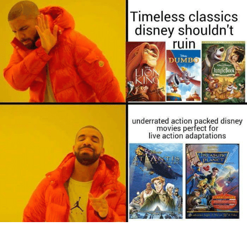 Disney Movies: Timeless classics  disney shouldn't  ruin  DUMB0  LIO  JungleBook  underrated action packed disney  movies perfect for  live action adaptations  I REASuru