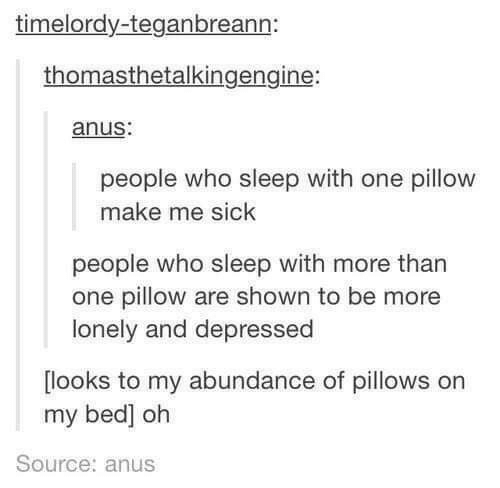 pillows: timelordy-teganbreann:  thomasthetalkingengine:  anus:  people who sleep with one pillow  make me sick  people who sleep with more than  one pillow are shown to be more  lonely and depressed  looks to my abundance of pillows orn  my bed] oh  Source: anus