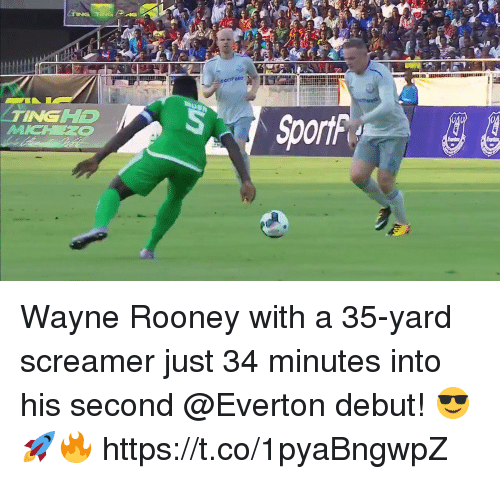 Everton, Soccer, and Wayne Rooney: TINGD Wayne Rooney with a 35-yard screamer just 34 minutes into his second @Everton debut! 😎🚀🔥  https://t.co/1pyaBngwpZ