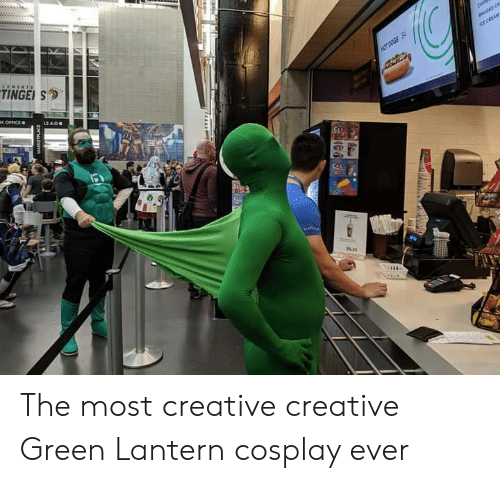 Green Lantern: TINGE S  ice CREAM  HOT DOGS S  x OFFICE  LS ADO  e  OLE The most creative creative Green Lantern cosplay ever
